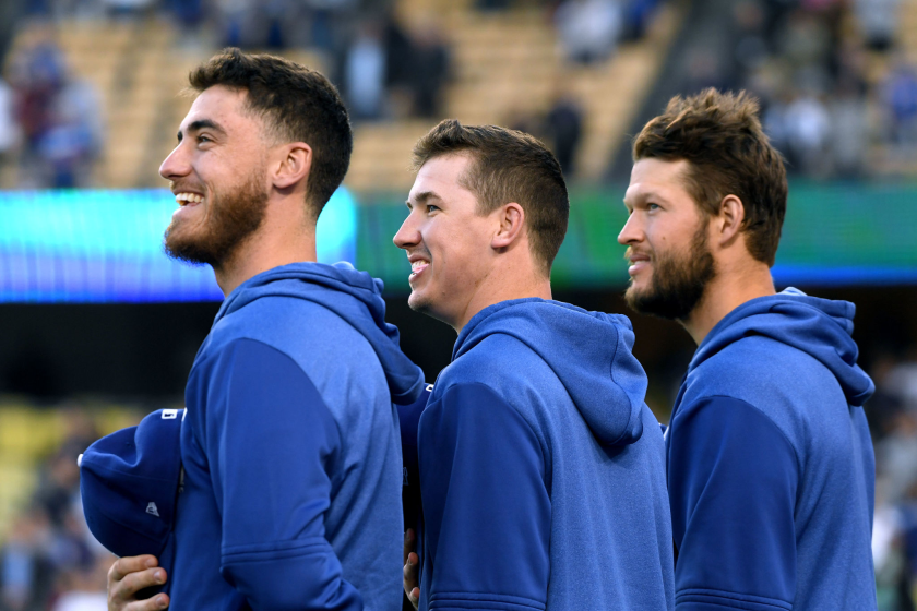 Dodgers teammates Cody Bellinger, Walker Buehler and Clayton Kershaw.