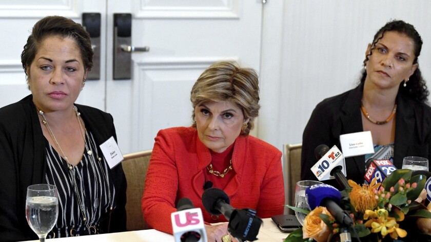 Attorney, Gloria Allred, center, along with her clients, Chelan Lasha, left and Lise-Lotte Lublin, r