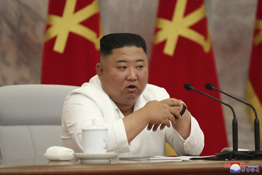 "In this photo provided by the North Korean government, North Korean leader Kim Jong Un attends a Politburo meeting of the Central Committee of the Workers' Party of Korea in Pyongyang, North Korea Thursday, June 2, 2020. Independent journalists were not given access to cover the event depicted in this image distributed by the North Korean government. The content of this image is as provided and cannot be independently verified. Korean language watermark on image as provided by source reads: ""KCNA"" which is the abbreviation for Korean Central News Agency. (Korean Central News Agency/Korea News Service via AP)"