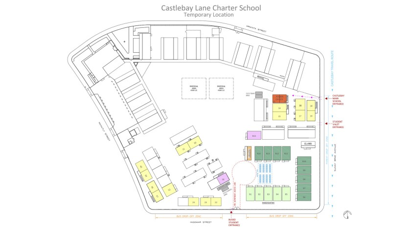 Castlebay Lane Charter's layout at Sunny Brae Elementary