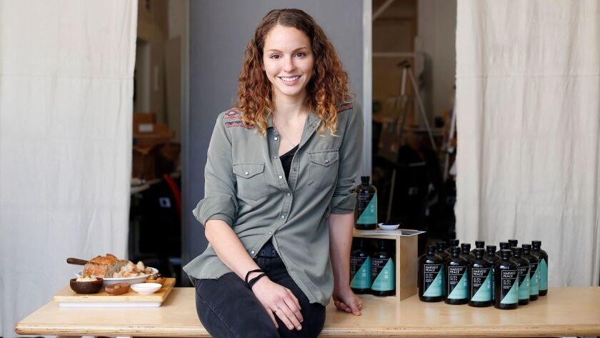 Jenny Farhat recently launched Harvest Peace, an Encinitas company that bottles organic olive oil pressed by Palestinian farmers in the West Bank.