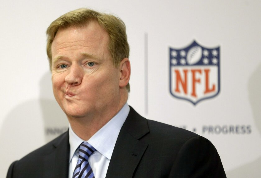 NFL Commissioner Roger Goodell takes questions during a 2013 news conference.