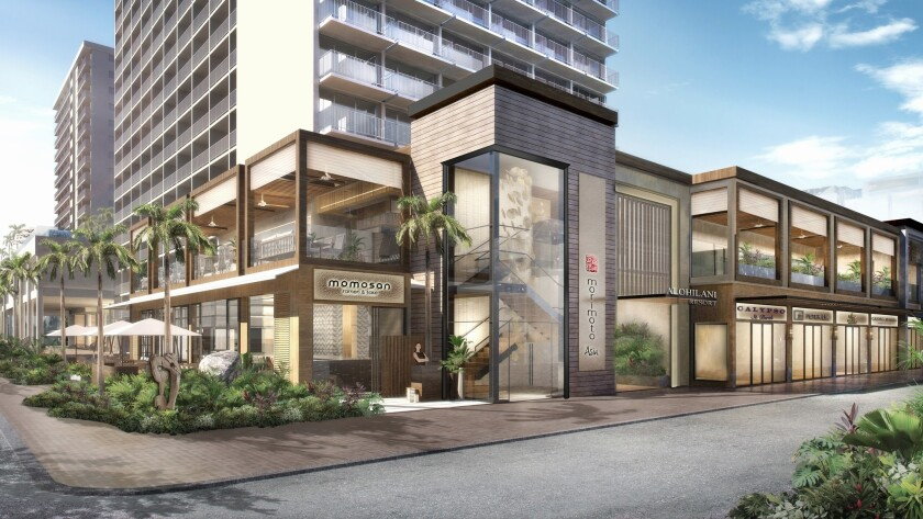 An artist's rendering highlights the exterior of the Alohilani Resort, which is expected to open in