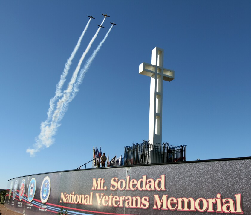 The traditional Mount Soledad National Veterans Memorial event for Memorial Day will be held online Monday, May 25, 2020.
