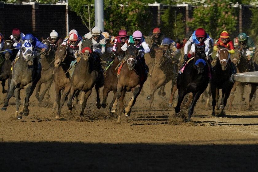 John Velazquez riding Medina Spirit, third from right, leads the field as they round the fourth turn to win the 147th running of the Kentucky Derby at Churchill Downs, Saturday, May 1, 2021, in Louisville, Ky. (AP Photo/Brynn Anderson)