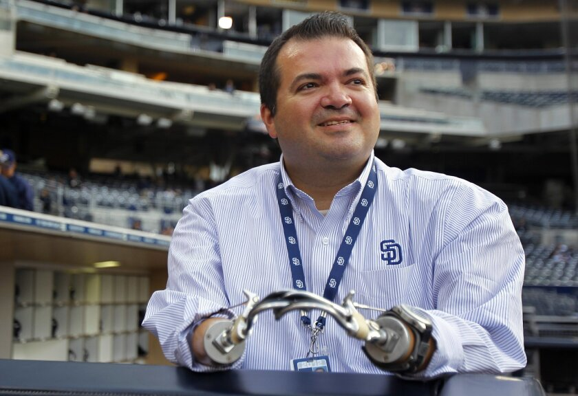 Alex Montoya, manager of Latino Affairs for the San Diego Padres , was the winner of the 2012 Lead On Award from Access to Independence. He is shown here at Petco Park.