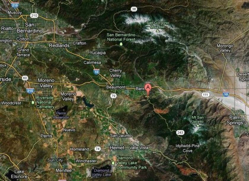 A 300-acre fire has broken out in the San Jacinto Mountains south of Banning. No structures were immediately threatened.