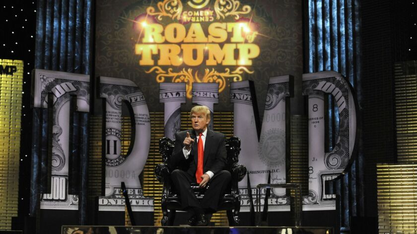 Donald Trump appears on the Comedy Central Roast of Donald Trump at Hammerstein Ballroom in 2011 in New York City.