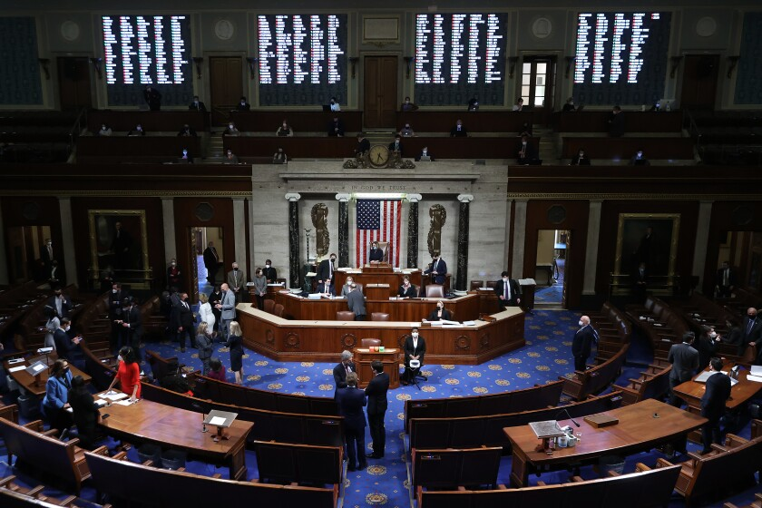 A view of the House floor as Speaker Nancy Pelosi presides over a vote to impeach President Trump for the second time.