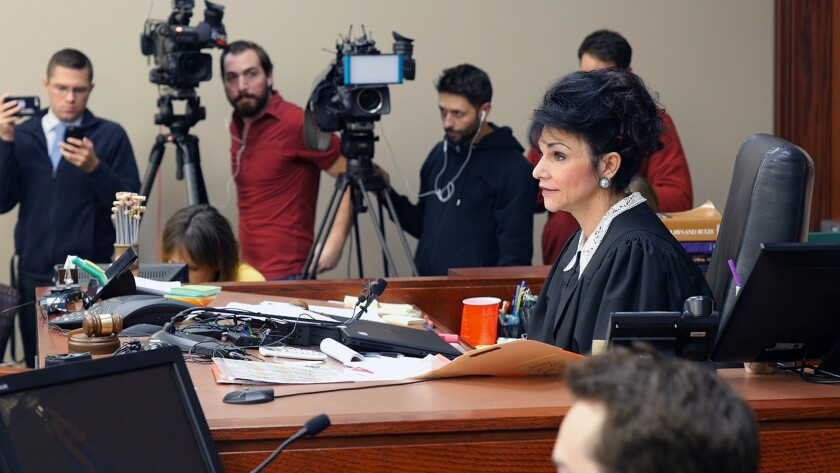 """Judge Rosemarie Aqualina in the documentary """"At the Heart of Gold: Inside the USA Gymnastics Scandal."""""""