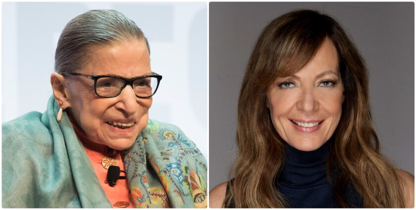 Side-by-side portraits of Ruth Bader Ginsburg and Allison Janney