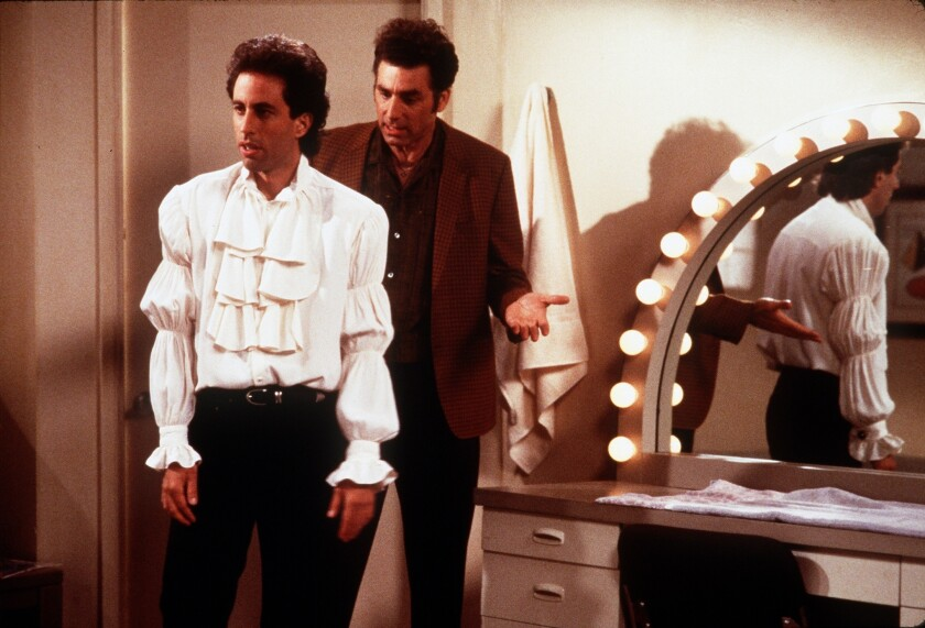 """Jerry Seinfeld in """"The Puffy Shirt"""" episode with Kramer, played by Michael Richards."""