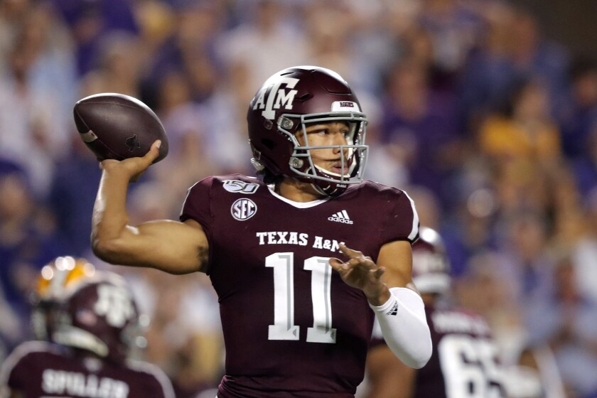 FILE - In this Nov. 30, 2019, file photo, Texas A&M quarterback Kellen Mond (11) throws a pass during the first half of the team's NCAA college football game against LSU in Baton Rouge, La. Mond will lead No. 10 Texas A&M in the opener against Vanderbilt on Saturday, Sept. 26, 2020. (AP Photo/Gerald Herbert, File)