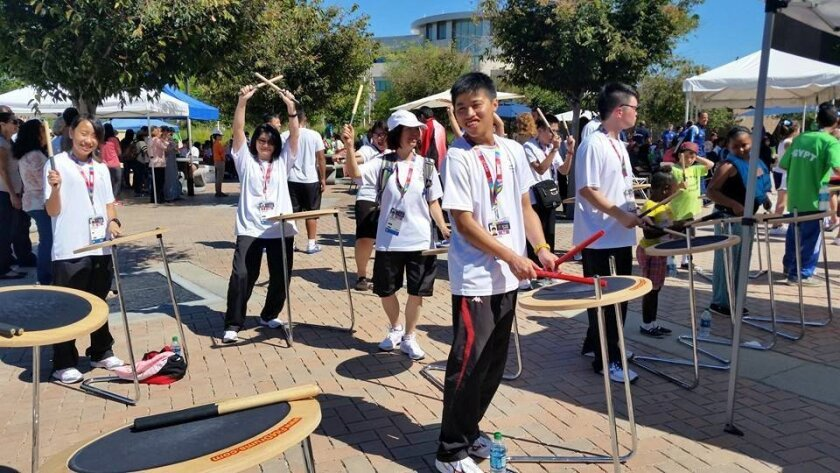 Some of the Hong Kong Special Olympics contingent had great fun playing the drums at their Los Angeles World Games sendoff last week at Centennial Plaza in El Cajon.