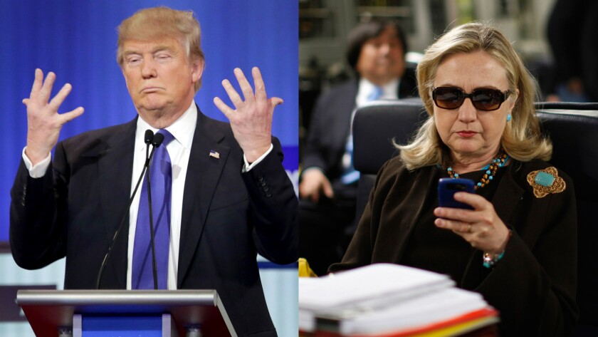 Donald Trump displaying his hands and Hillary Clinton checking email — popular material for memes.