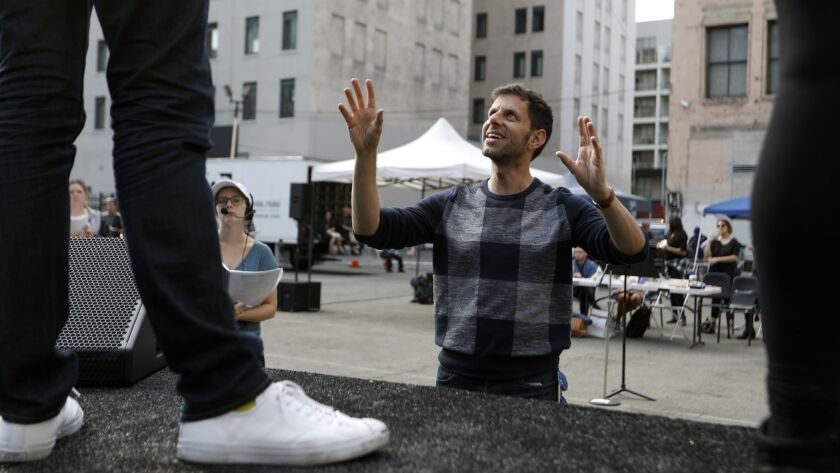 Opera director Yuval Sharon leading a rehearsal in downtown Los Angeles in 2017.
