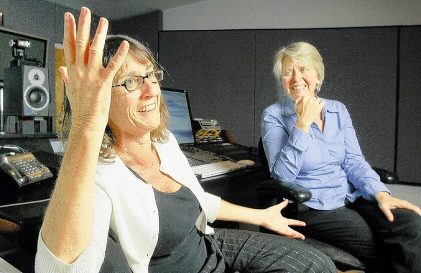 """Producer Stefanie Levine (left) and co-host Martha Barnette at Studio West, where the radio show """"A Way With Words"""" is produced."""