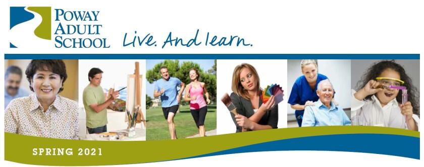 Poway Adult School spring 2021 catalog logo