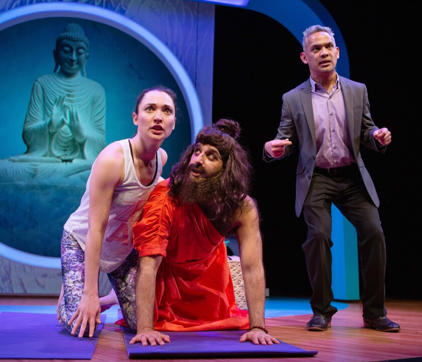 "Ayelet Firstenberg, left, Bobak Bakhtiari and Ryan Morales in ""Yoga Play"" at the San Francisco Playhouse."