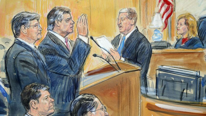 A courtroom sketch shows former Donald Trump campaign chairman Paul Manafort, center, and defense lawyer Richard Westling, left, appearing before U.S. District Judge Amy Berman Jackson at federal court in Washington, D.C., on Friday.