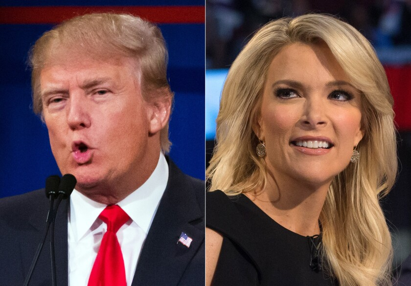 Republican presidential candidate Donald Trump and Fox News Channel host and moderator Megyn Kelly in images from the first Republican presidential debate on Aug. 6.