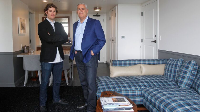 Alan Fuerstman, founder of Montage Hotels, and son Michael, who is overseeing the new Pendry brand, stand in one of the hotel's 36 suites.