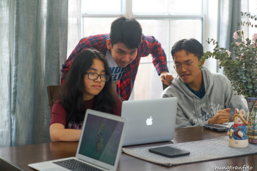 Ly Tran, Long Tran and Anthony Chen worked all summer to create Pictoria, an educational website to teach American history.
