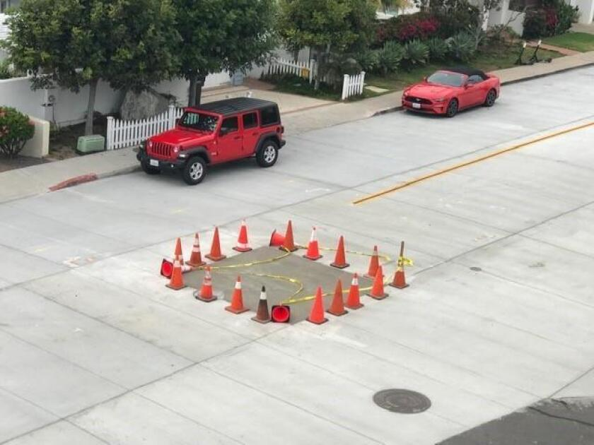 CELEBRATING CITY FIX: It is phenomenal that the City trenched the new concrete street on Coast South in La Jolla this spring due to a sewer leak; filled it with asphalt, and by a miracle, came back and repaired the street with concrete last week. Thank you so much, City of San Diego! — Ann Dynes