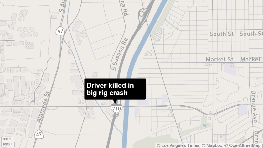 A driver was killed Thursday after colliding with a big rig on the 710 Freeway.