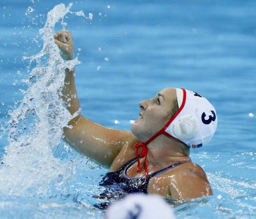 Melissa Seidemann is shown competing with the U.S. Olympic water polo team in 2012.