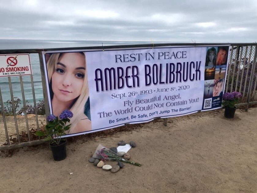 This banner hangs over the Moon beach. Bolibruck, apparently, jumped over the barrier before suffering a fatal fall on June 3.
