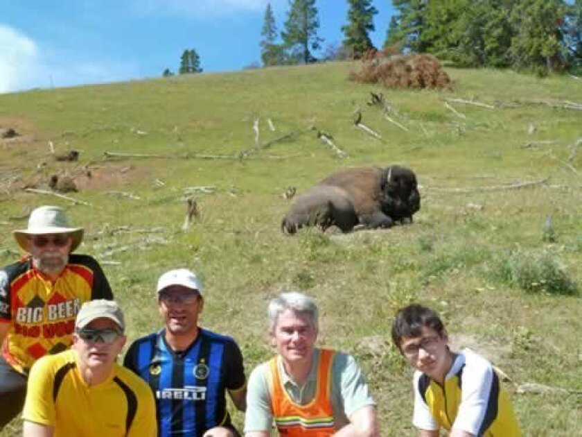 Mark, Scott, Alan, Tim and Laurens Riedler get the chance to see bison up close.