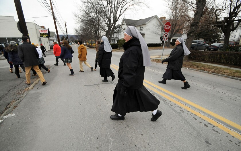 """Nuns from Little Sisters of the Poor, based in Scranton, Pa., take part in a """"March For Life"""" walk held on Jan. 22 in Dunmore, Pa."""