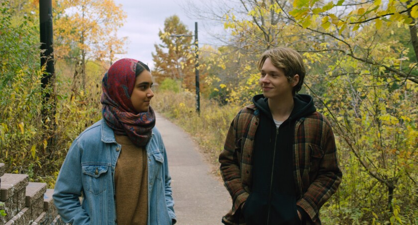 Geraldine Viswanathan and Jack Kilmer in the movie 'Hala'