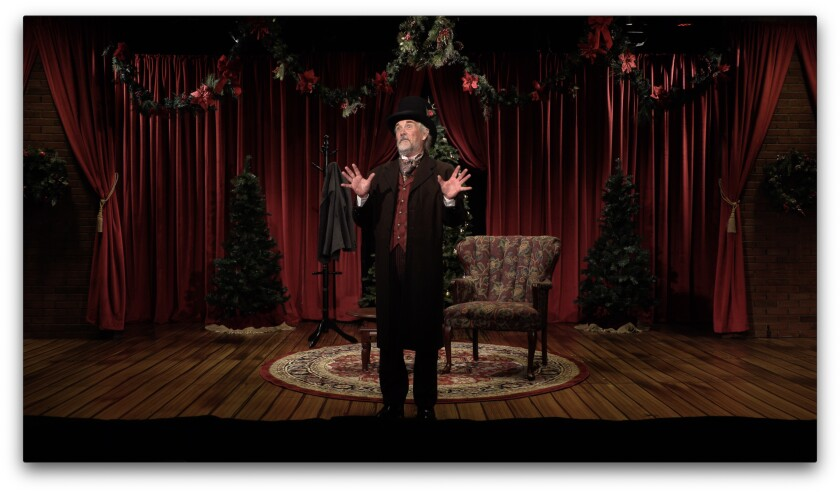 """James Newcomb  in North Coast Rep's """"A Christmas Carol: As told by one man to whom it matters."""""""