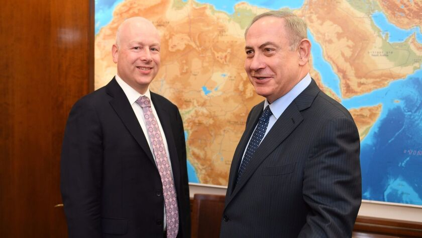 U.S. envoy Jason Greenblatt, left, meets with Israeli Prime Minister Benjamin Netanyahu in Jerusalem on March 13, 2017.