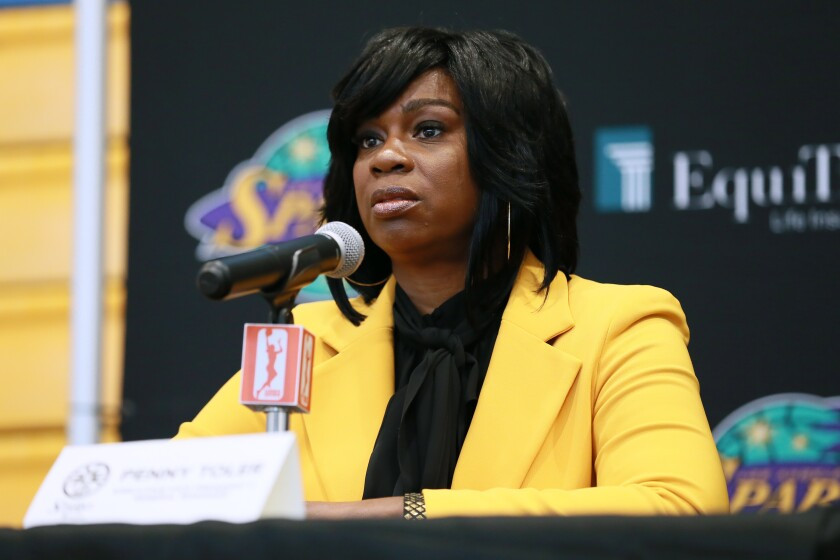 Sparks general manager Penny Toler speaks during the team's media day on May 14 at Staples Center.