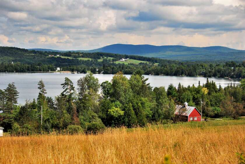 Greensboro, Vt., provided a yearly getaway for California-based writer Wallace Stegner and his wife, Mary. Above, Caspian Lake stretches across the countryside outside of town.