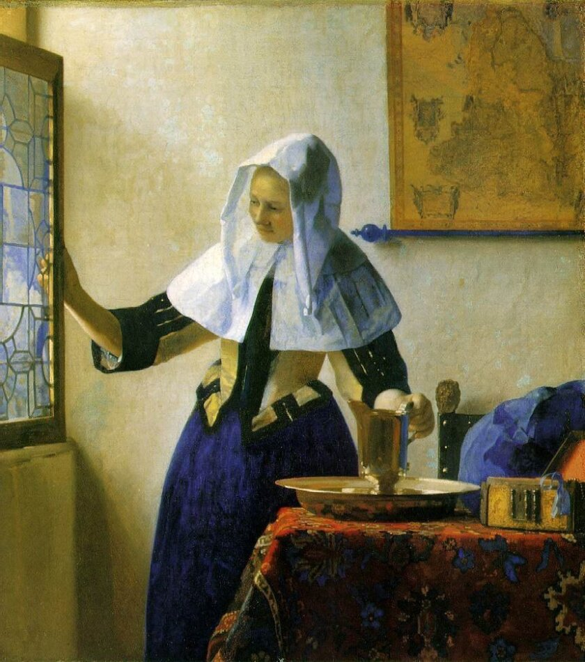 """'Young Woman with a Water Jug,' circa 1662 by Jan Vermeer. Crystalline cubes of light-filled space and masterful reflections make him one of the most revered of painters. The Athenaeum Music & Arts Library's """"17th Century Dutch Art,"""" a five-part series by art historian Linda Blair, 7:30 p.m. Thursd"""