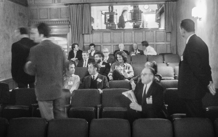 In the theater at Greystone Mansion, AFI's first home, on Sept. 23, 1969.