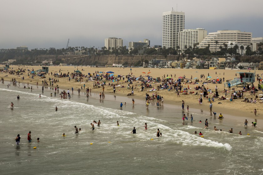 People play on Santa Monica State Beach on June 17, 2015.
