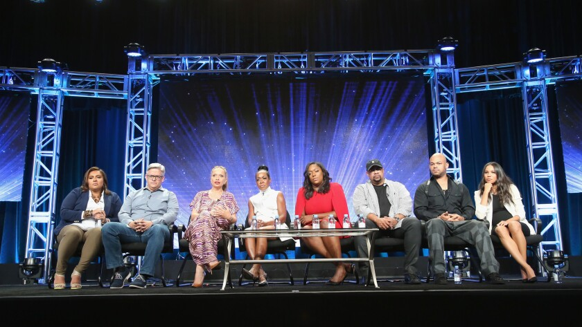 Executives and actors speak during the Cable Sponsored Lunch with special Diversity Panel discussion at the 2016 Television Critics Assn. Summer Tour at the Beverly Hilton Hotel.