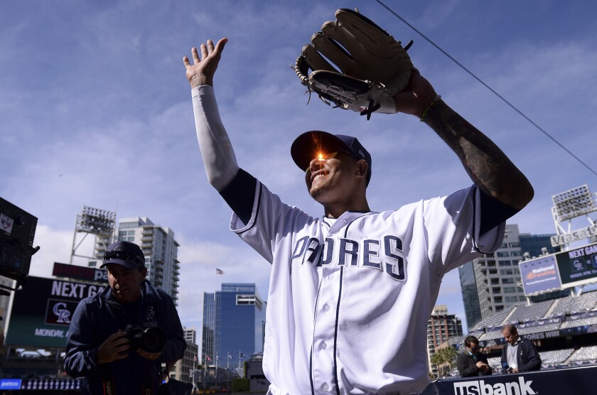 The Padres' Manny Machado acknowledges the crowd following the baseball game against the Arizona Diamondbacks Thursday, April 4, 2019, in San Diego. The Padres won 4-1.