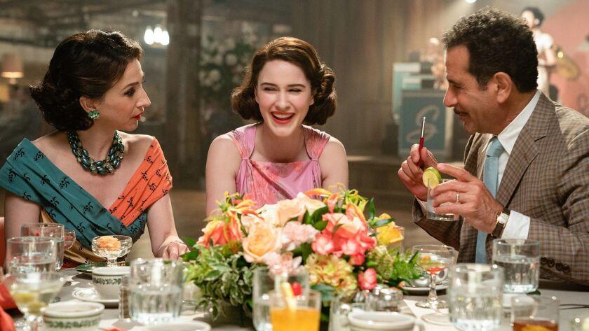 "Marin Hinkle, left, Rachel Brosnahan and Tony Shalhoub in a scene from Season 2 of ""The Marvelous Mrs. Maisel."""