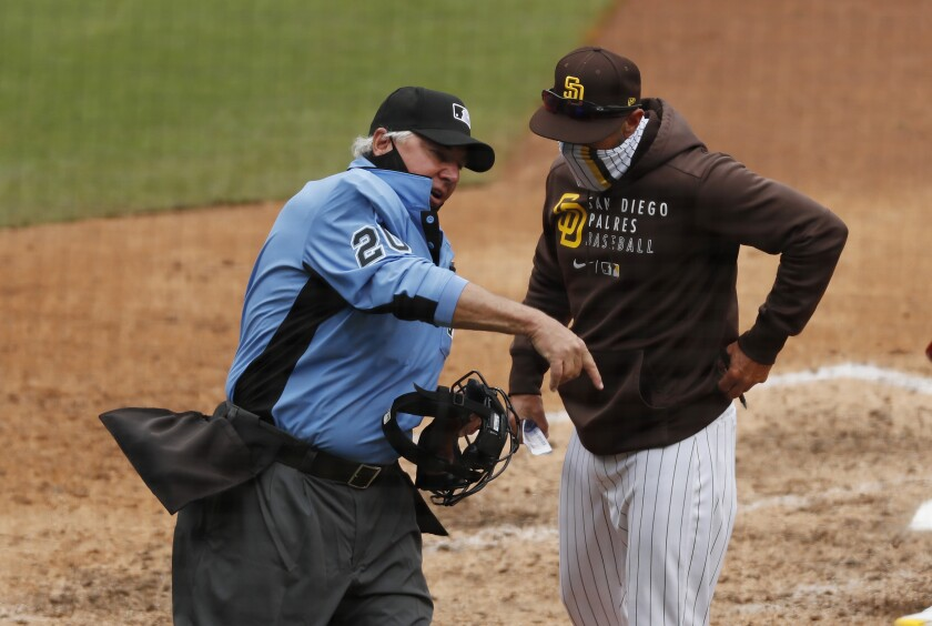 Padres manager Jayce Tingler gets thrown out of Wednesday's game by umpire Tom Hallion.