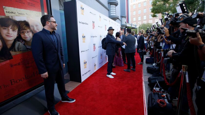 """""""The Book of Henry"""" director Colin Trevorrow, left, on the red carpet at the opening of the L.A. Film Festival at the ArcLight in Culver City on June 14."""