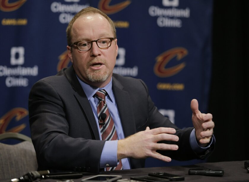 Cleveland Cavaliers general manager David Griffin speaks at a news conference before an NBA basketball game between the Chicago Bulls and the Cleveland Cavaliers, Thursday, Feb. 18, 2016, in Cleveland. The Cavaliers found a coveted wing shooter before the trading deadline. To get him, though, they