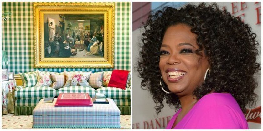 Oprah Winfrey will auction furniture and art from her Montecito mansion, left, at the Santa Barbara Polo and Racquet Club on Nov. 2. The public can preview the furnishings in person or online.