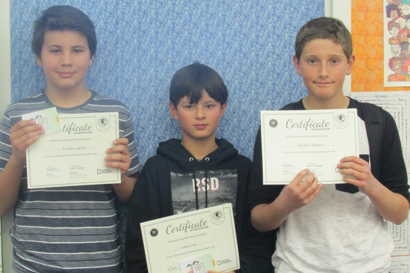 L-R: Kirusha Lanski, Lukas Loy and Weston Harmer won first, second and third place, respectively, in the Earl Warren Middle School National Geographic Bee recently.