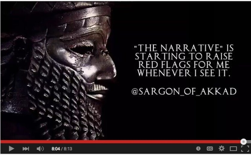 A screen grab from a provocative YouTube video by Sargon of Akkad. YouTube temporarily took down the video after a copyright claim by the Guardian, whose video Sargon was critiquing.